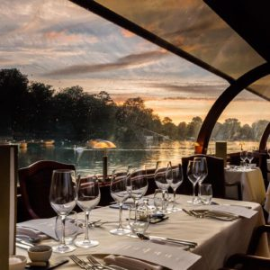 Willow Room Dinner Cruise on the Thames with Mercedes S-Class Chauffeur for Two